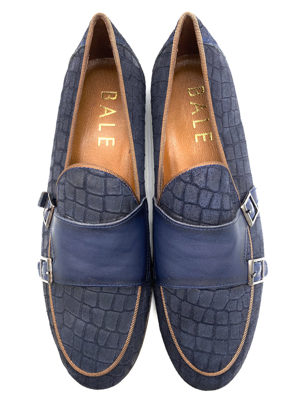 Monk Strap Croc Loafer Shoe - Navy