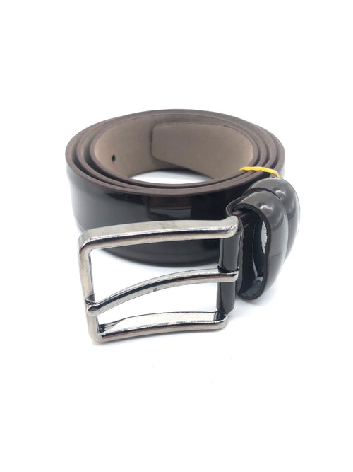 Faux Patent Leather Belt - Brown
