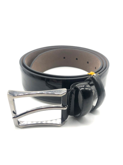 Faux Patent Leather Belt - Black