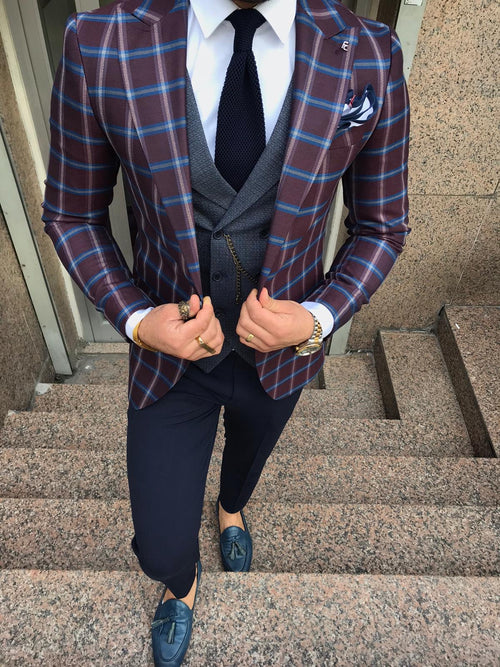 Evron - Burgundy 3 Piece Suit