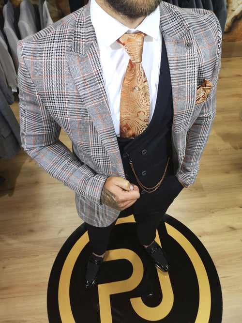 Morteza - Orange/Grey/Black 3 Piece Suit