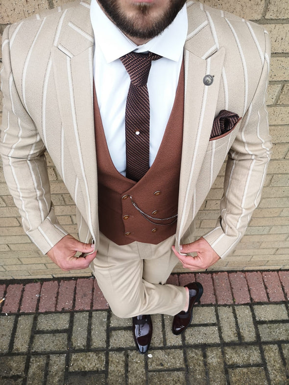 Carter - Sand 3 Piece Suit