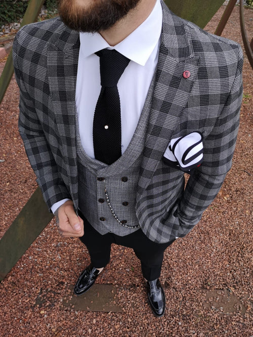 Lencho - Grey/Black 3 Piece Suit
