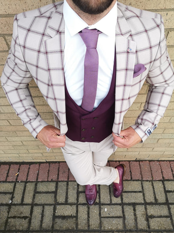 Milburn - Cream/Burgundy 3 Piece Suit