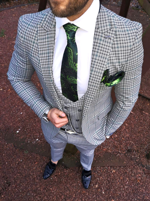 Royston - Green/White/Black 3 Piece Suit