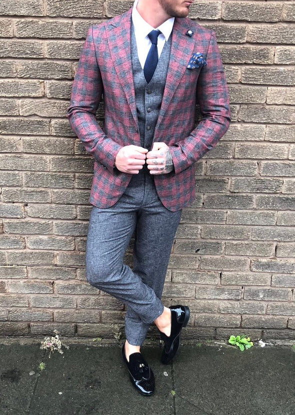 Kyo - Red/Grey 3 Piece Suit