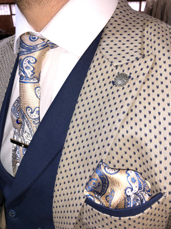 Konrad - Beige/Navy 3 Piece Suit