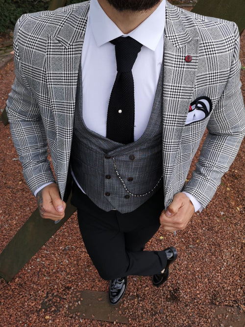 Reggie - Grey/Black 3 Piece Suit