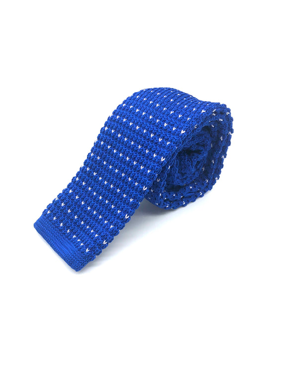 Knitted Flat Edge Pattern Tie - Royal Blue