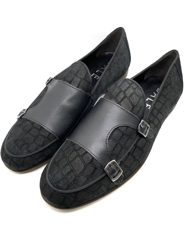 Monk Strap Croc Loafer Shoe - Black