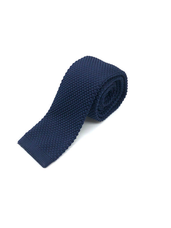 Knitted Flat Edge Tie - Navy