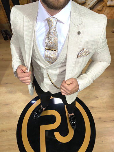 Jaydon - Cream 3 Piece Suit