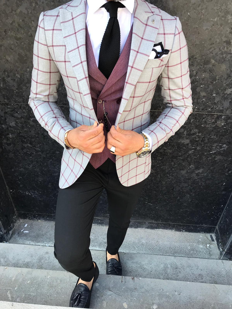 Walter - Grey/Red 3 Piece Suit