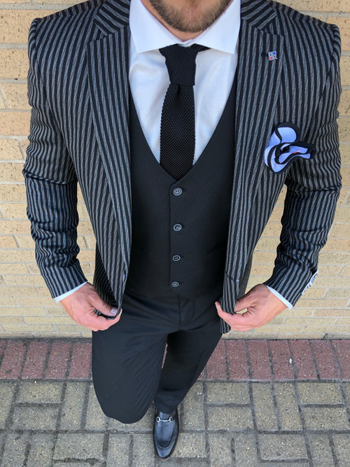Doran - Black/Grey 3 Piece Suit