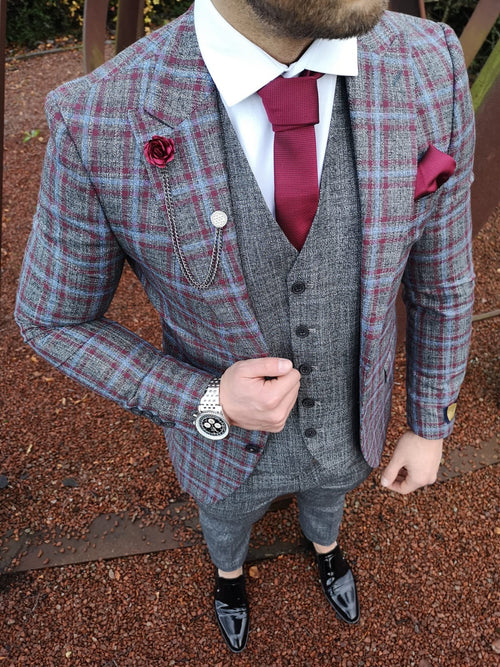 Cedric - Grey/Burgundy/Blue 3 Piece Suit