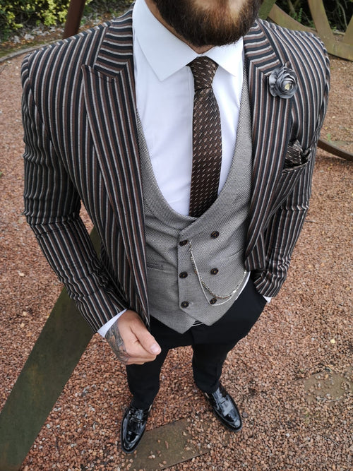 Denver - Black/Grey/Brown 3 Piece Suit