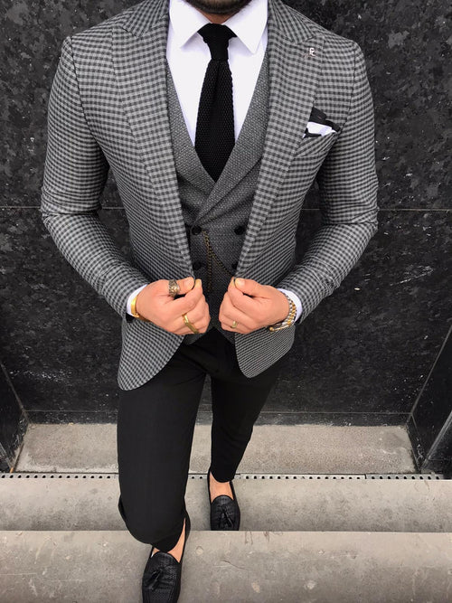 Neville - Grey/Black 3 Piece Suit