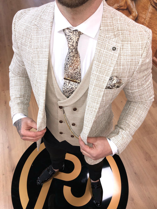 Murdoch - Cream 3 Piece Suit