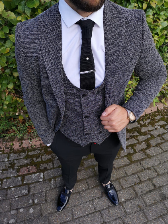 Preston - Black/Grey 3 Piece Suit