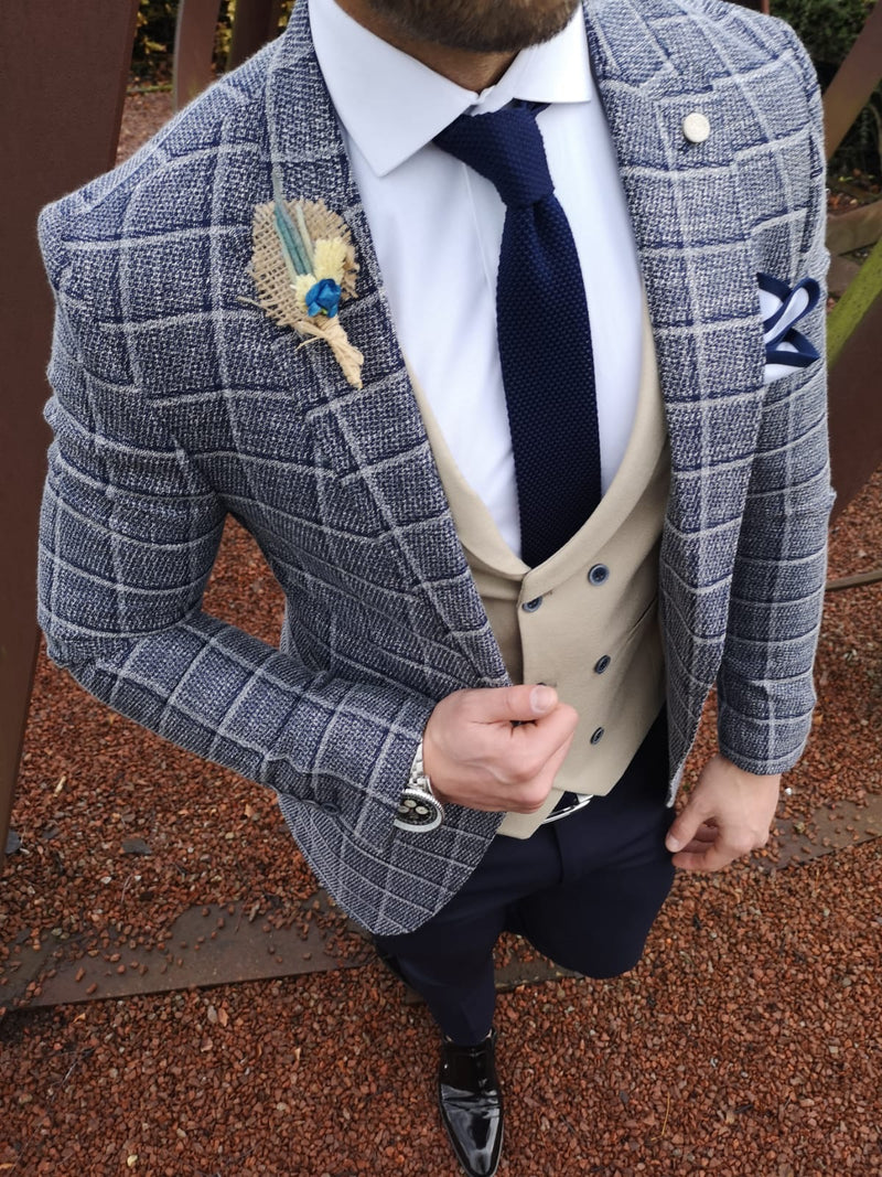Hampton - Navy/Cream 3 Piece Suit