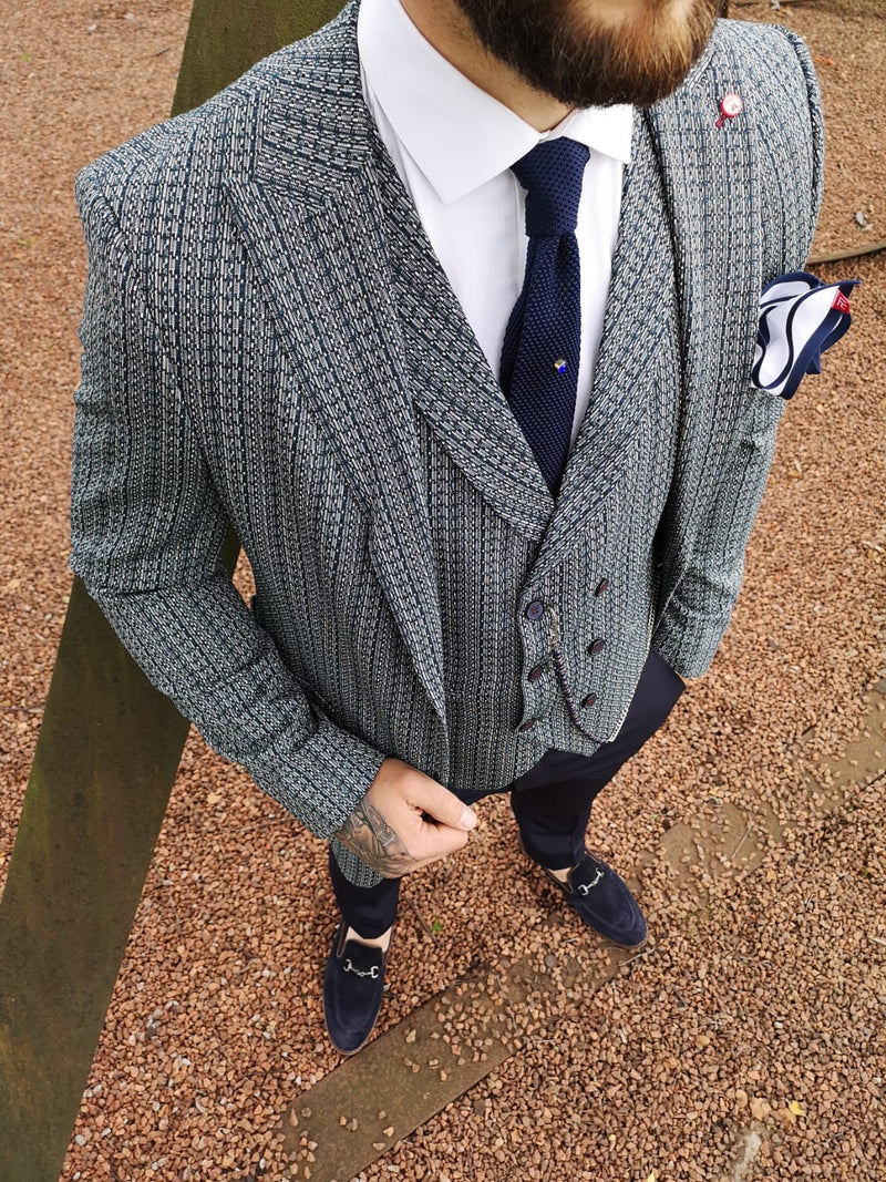 Finnan - Green/Navy 3 Piece Suit