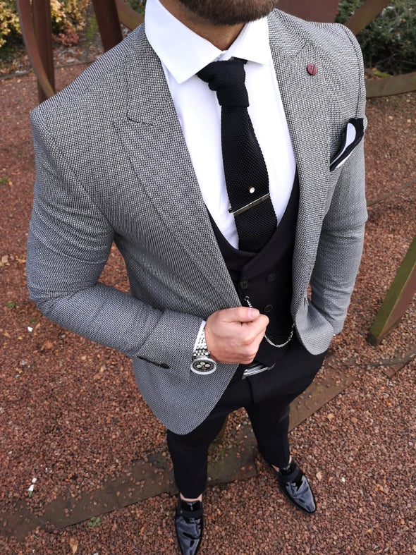 Bertrand - Grey/Black 3 Piece Suit