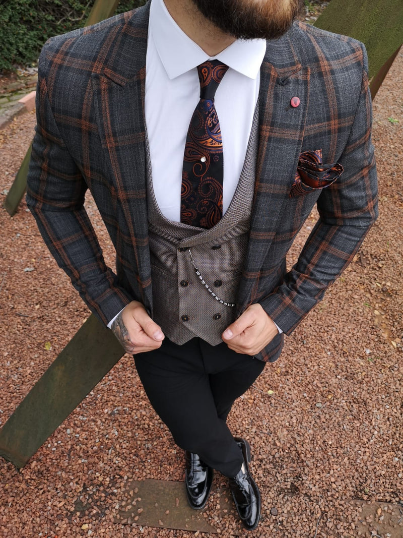 Mara - Grey/Orange 3 Piece Suit