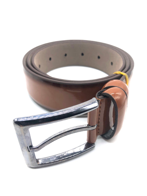 Faux Patent Leather Belt - Tan