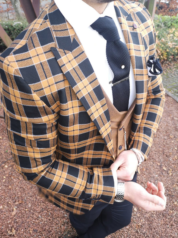 Muzza - Brown/Black 3 Piece Suit