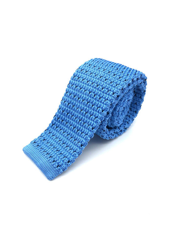 Knitted Flat Edge Pattern Tie - Sky Blue
