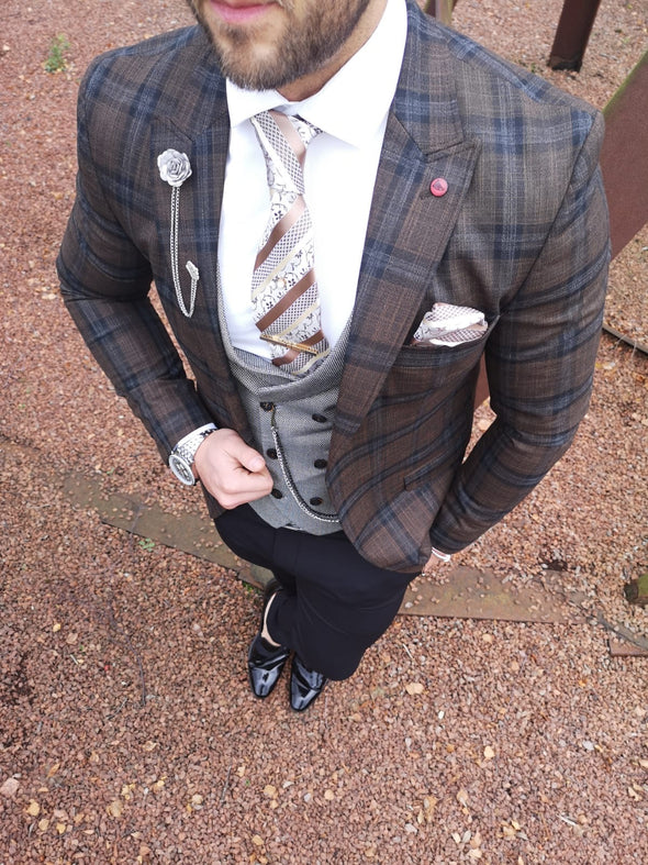Mara - Brown/Blue 3 Piece Suit