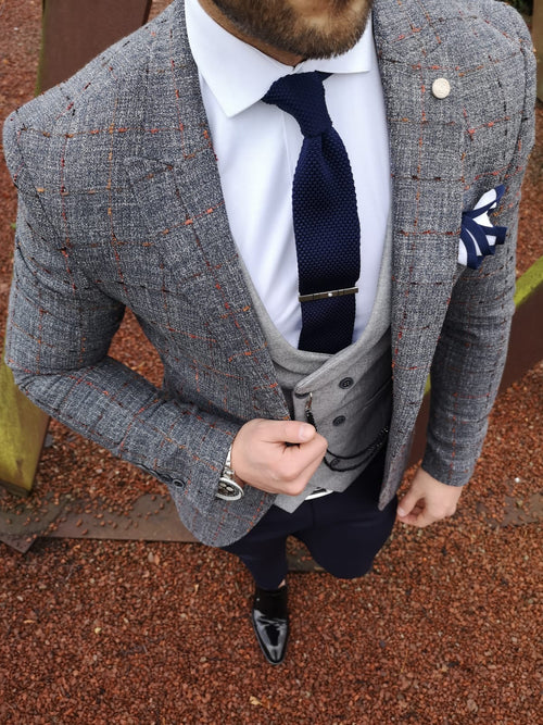 Medina - Steel Blue/Orange 3 Piece Suit