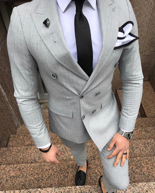 Pablo - Grey/White 2 Piece Suit