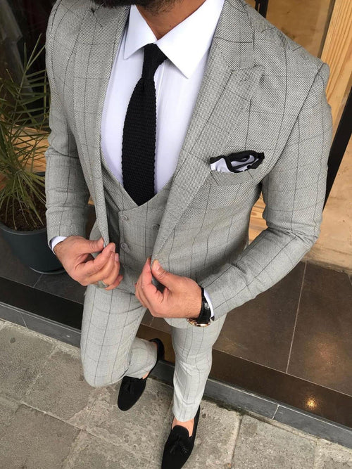 Ronan - Light Grey 3 Piece Suit