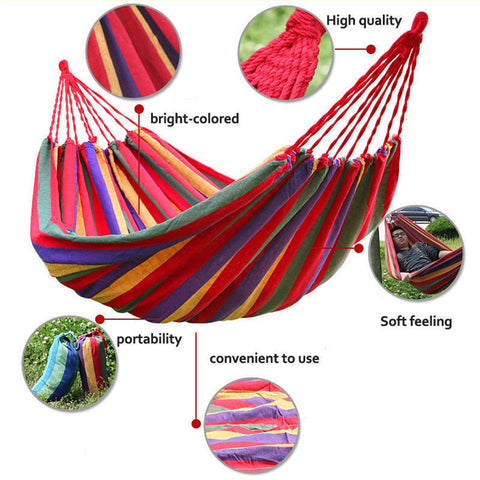Portable Cotton Rope Outdoor Swing Fabric Camping Hanging Hammock