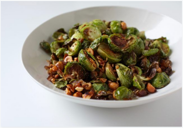 Roasted  Brussels  Sprouts  with  Hazelnuts  and  Dates