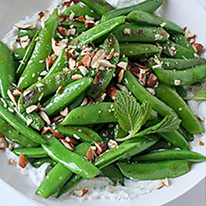 Sautéed Sugar Snap Peas with Mint Yogurt