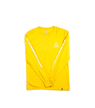 Huf Essentials Triple Triangle  L/S Tee Yellow