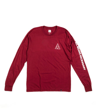 Huf Essentials Triple Triangle L/S Tee Bordeaux