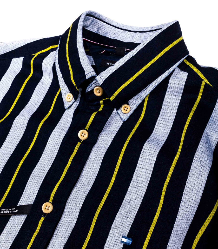 Tommy Hilfiger Camicia Righe Rugby Strip Blu Celeste Giallo