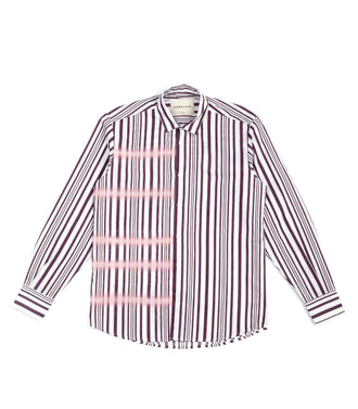 Core Late Camicia Over Righe Spray Bordeaux