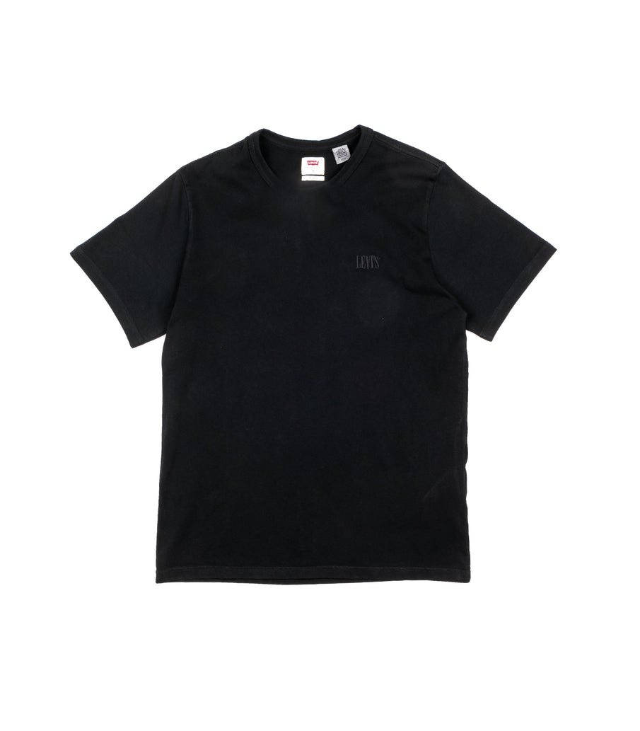 Levis T-Shirt Relaxed Fit Logo Serif Ricamato Nero