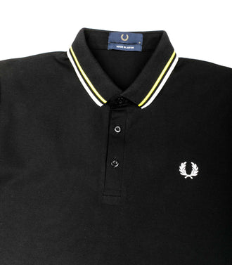 Polo Fred Perry Made In Japan FluÒ Nero Giallo Uomo