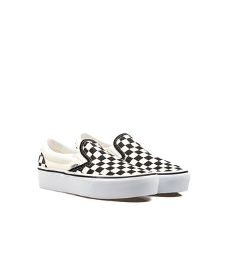 Vans Slip On Platform Checker Nero Bainco Donna
