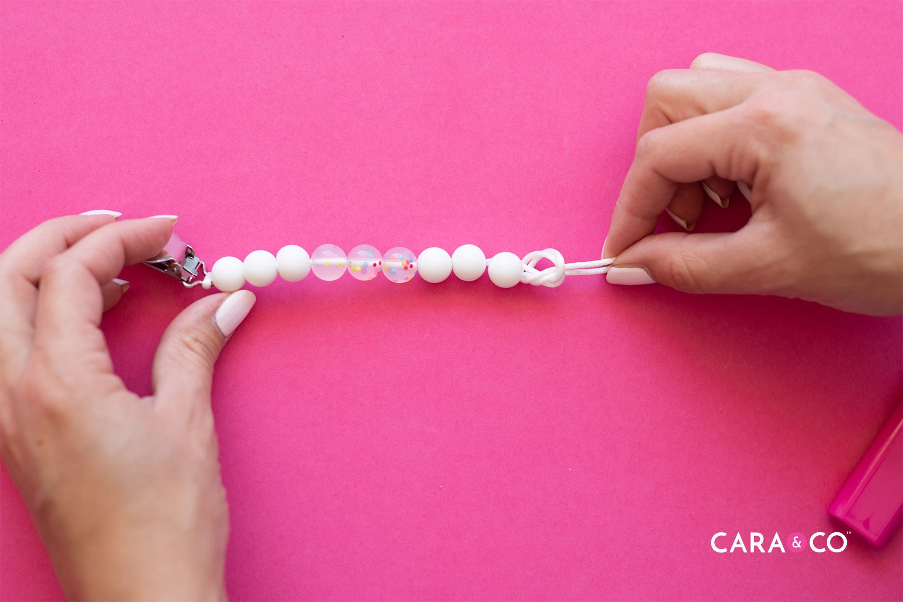 Knot safety for pacifier and soother clips - Cara & Co