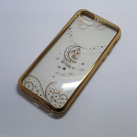Apple iPhone 5G/5S/SE/5C - Chrome Edge with Rhinestone Silicone Case
