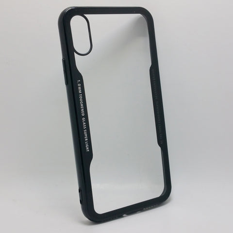 Apple iPhone X - TPU Bumper Frame Case with Clear 1mm Toughened Glass Back Cover