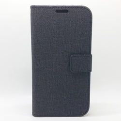 Apple iPhone X - Cloth Leather Book Style Wallet Case with Strap
