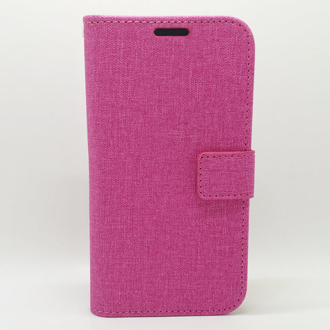 Apple iPhone 5 / 5S / SE - Cloth Leather Book Style Wallet Case with Strap [Pro-Mobile]