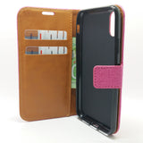 Apple iPhone X / XS - Cloth Leather Book Style Wallet Case with Strap [Pro-Mobile]